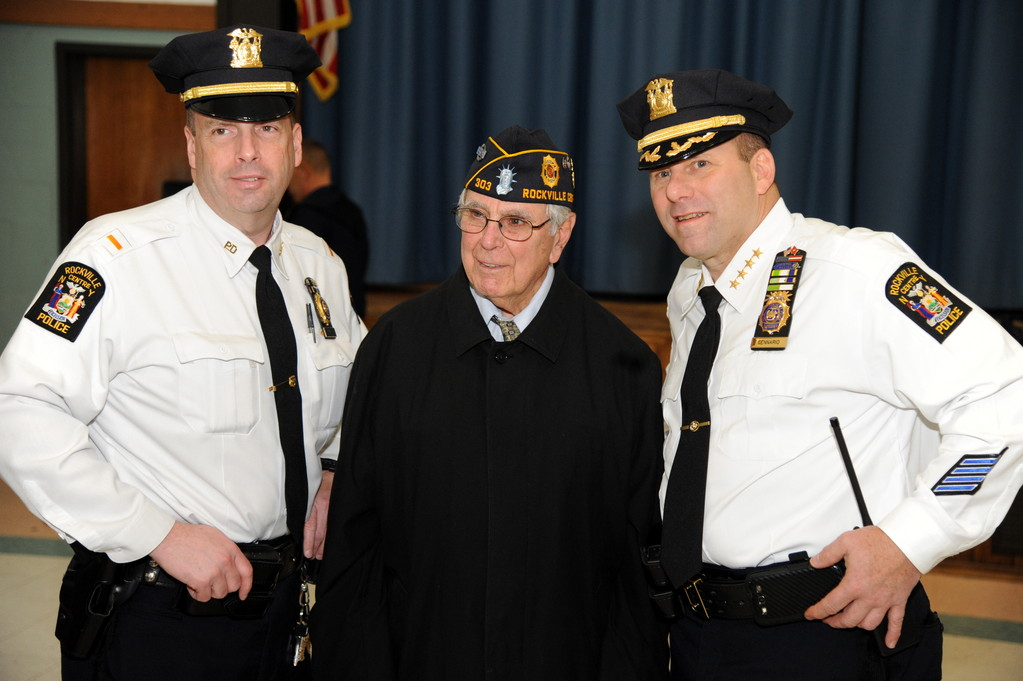 Lt. Kenneth Schaefer, former mayor Eugene Murray, Police Commissioner Charles Gennario at the Rec. Center's annual veterans' ceremonies.