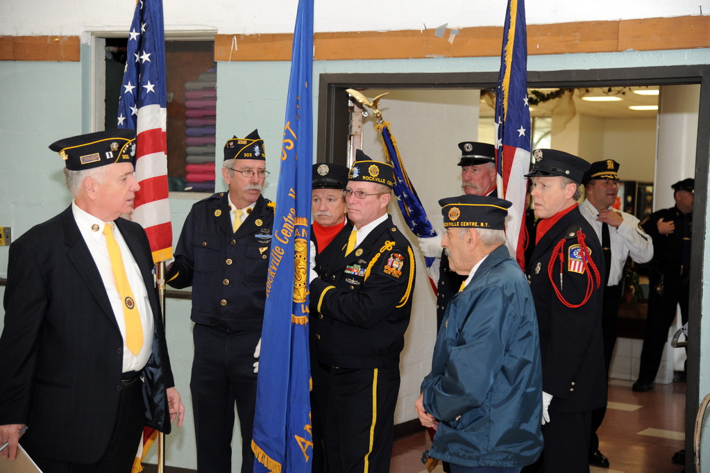Veterans gathered before the American Legion Post ceremonies.