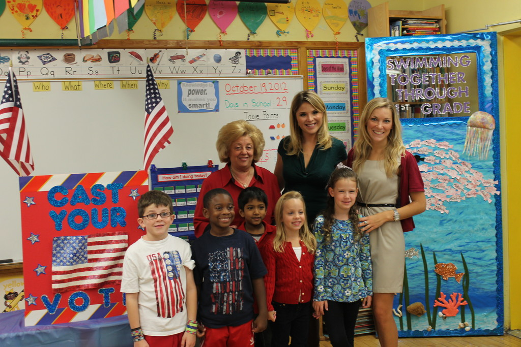 Today Show correspondent Jenna Bush Hager visited Watson Elementary school to interview the students. From left, students Evan Russell, Aliff Jalloh, Watson Principal Joan Waldman, John Medidha, Ava Gallego, Hager, Erica Flaherty and teacher Kate Zimmer.