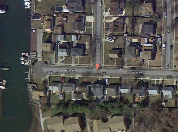 Point �A� shows the approximate location of the force main where the sewer backup occurred. The waterway is Parsonage Creek.