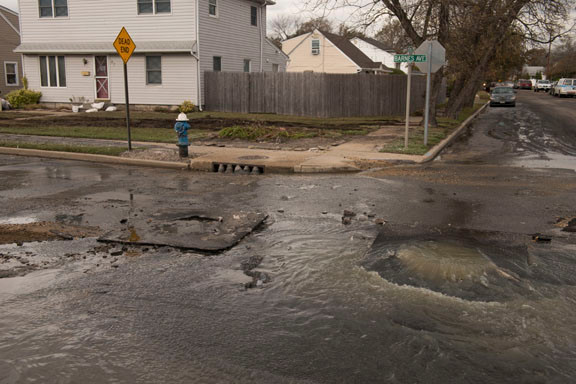 Sewage issued from a ruptured vault under Barnes Avenue, and floodwaters may have spread unhealthy contaminants.