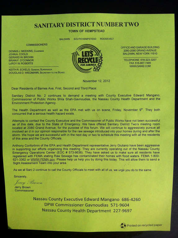 This letter was widely distributed by Jerry Brown of Sanitation District Two.