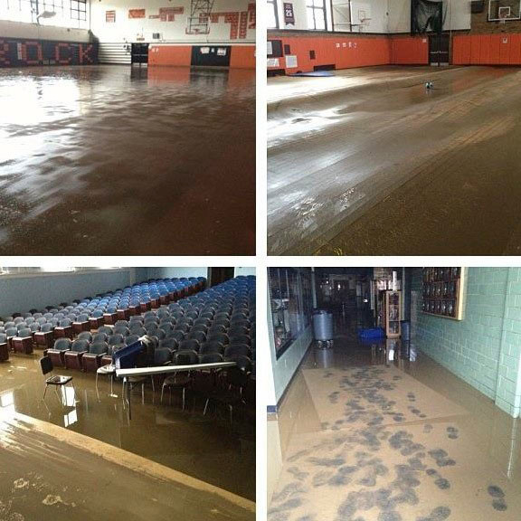 The Gymnasium, the auditorium and classrooms at the high school were severely damaged.