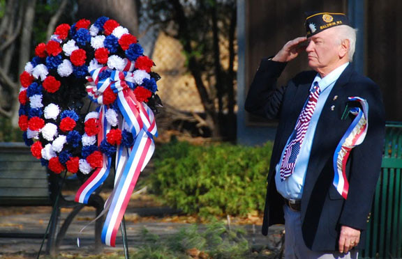 Stephen Bohn, above, saluted his fellow vets at the event held Nov. 11.