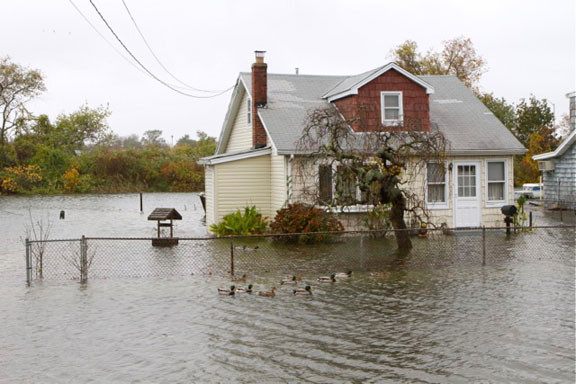 'Superstorm Sandy' brought high winds and a 10-foot tidal surge that flooded South Shore homes.