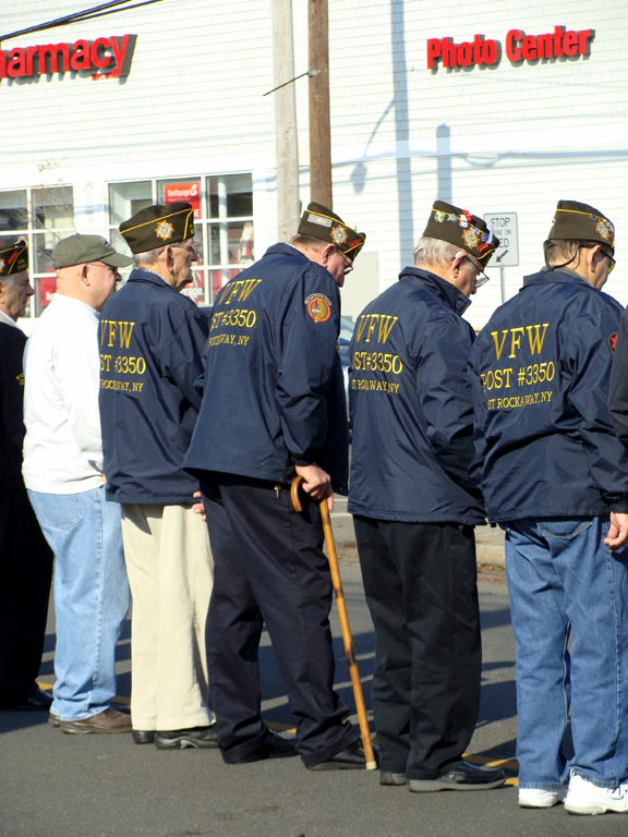 Veterans lined the Memorial on Main Street.