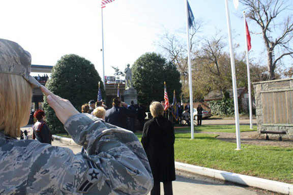 Veterans saluted the flag during the Veterans Day Ceremony on Nov. 11 at the Dough Boy Memorial in Lynbrook.