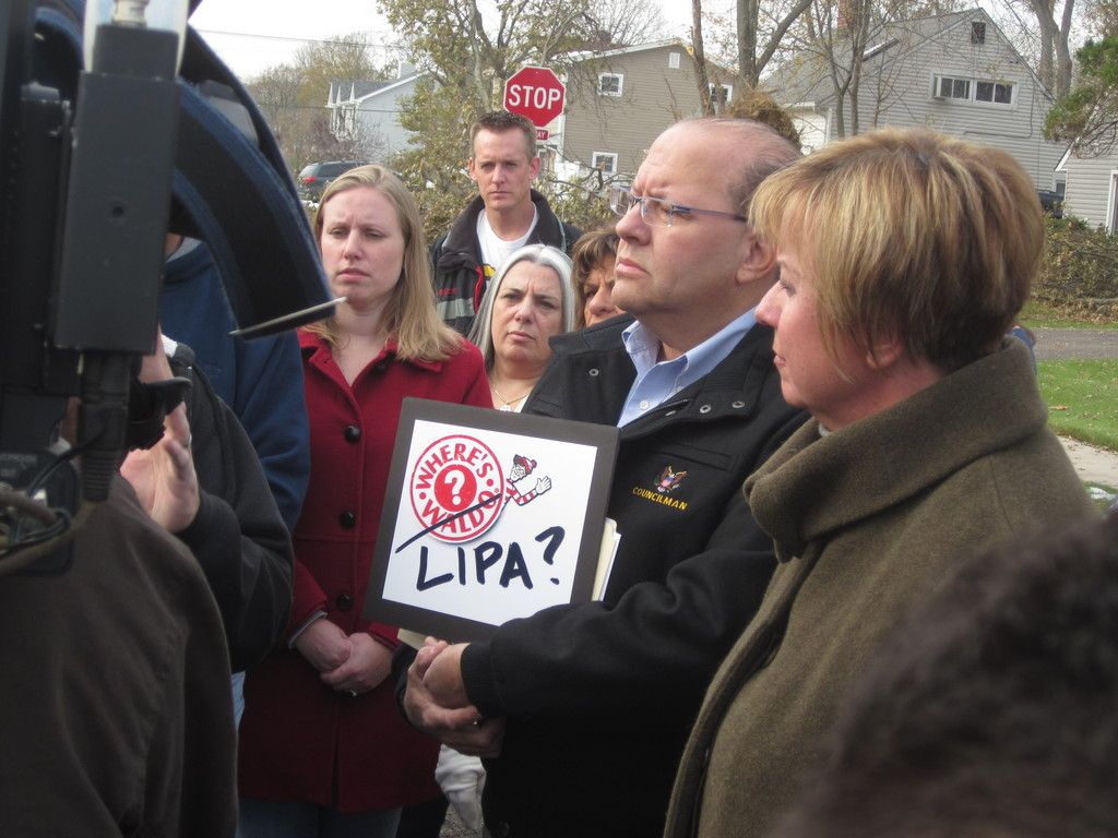 Where's LIPA? Town of Hempstead Councilman Gay Hudes, who represents East Meadow, questioned the power authority during a rally held in Levittown on Saturday afternoon.