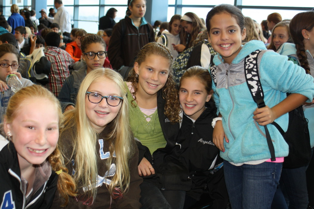 After being temporarily displaced from their school by Hurricane Sandy, Long Beach Middle School students gathered together in the cafeteria at the start of their first day of classes at the high school.