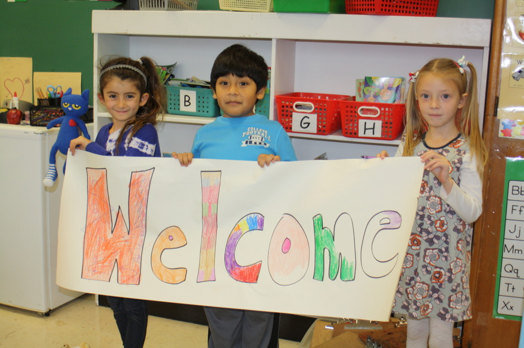 On the first day back to school after Hurricane Sandy, Lindell second-graders made special signs to welcome the Lido School students who will temporarily be attending classes at Lindell.