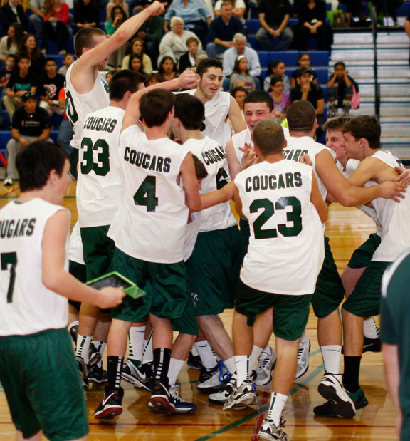Kennedy players celebrated after defeating West Hempstead in four sets last Monday to capture the Nassau Class B boys' volleyball championship.