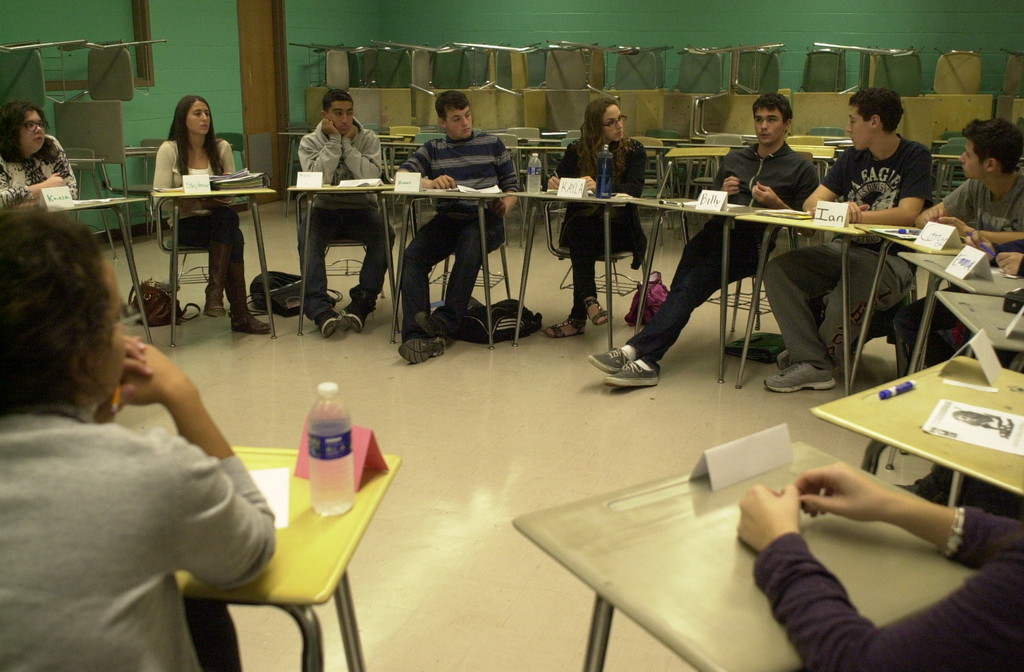Students in Kara McManus's Advanced Placement government class at Kennedy High School in Bellmore recently took part in an issues forum hosted by Hofstra University in the weeks leading up to the presidential election.