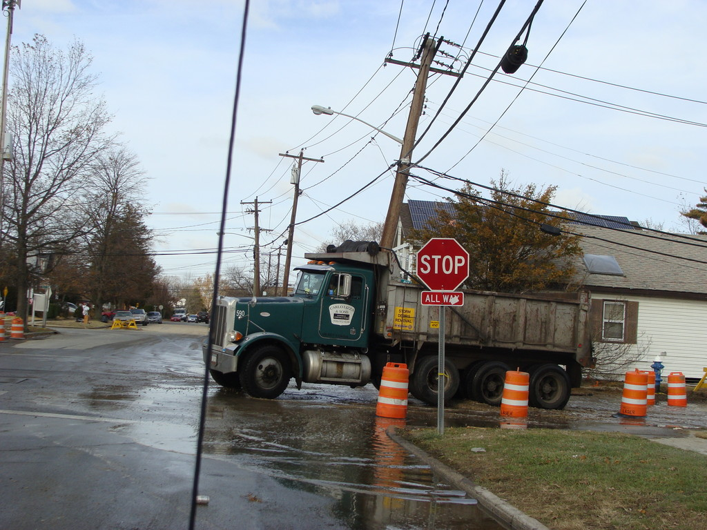 A truck drove through sewage water on Rhame Avenue on Northern Blvd. in Bay Park