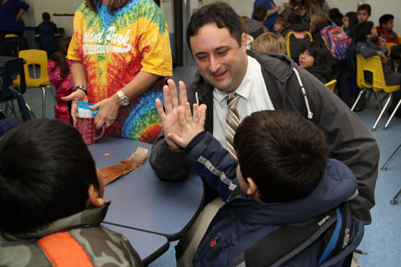 Hegarty Principal Jacob Russum welcomed his students back to school.