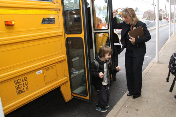 School 8 Principal Laurie Storch got School 8 students excited about their first day at School 6 in Oceanside.