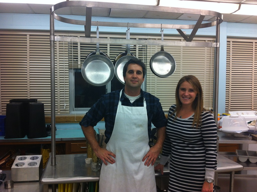 Michael DiGiovanni and Malori Steinhauer, members of the Kennedy faculty, helped prepare food for the dinner.