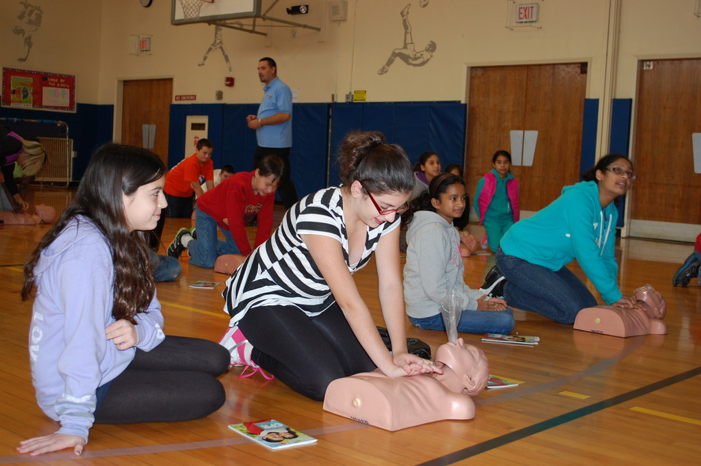 Sixth-graders at the Robert W. Carbonaro School were trained in basic CPR skills last Thursday by Heartstart Training.
