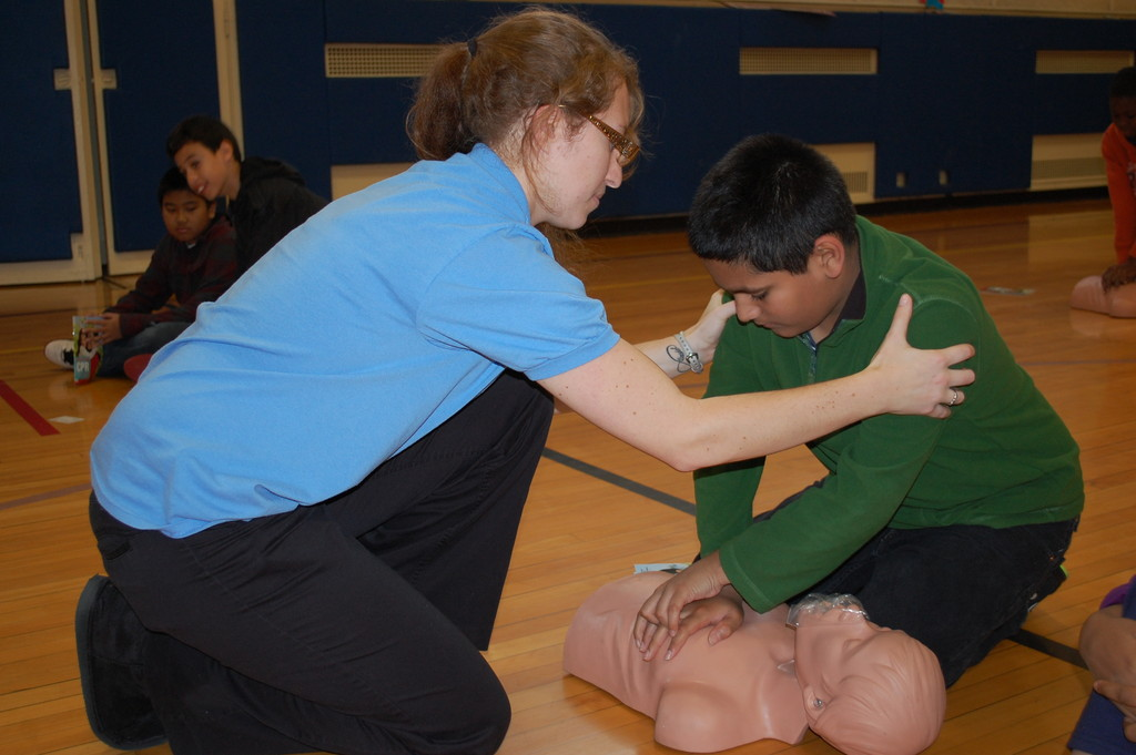 Yashjeet Singh, a sixth-grader at the Robert W. Carbonaro School, learned CPR basics from Jessica Prestifilippo of Heartstart Training on Nov. 15.