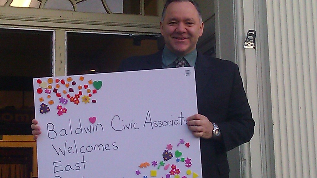 The Principal of East Rockaway High School, Joseph Spero, displayed one of the signs that greeted his students when they arrived in Baldwin. The signs were created by members of the Baldwin Civic Association.