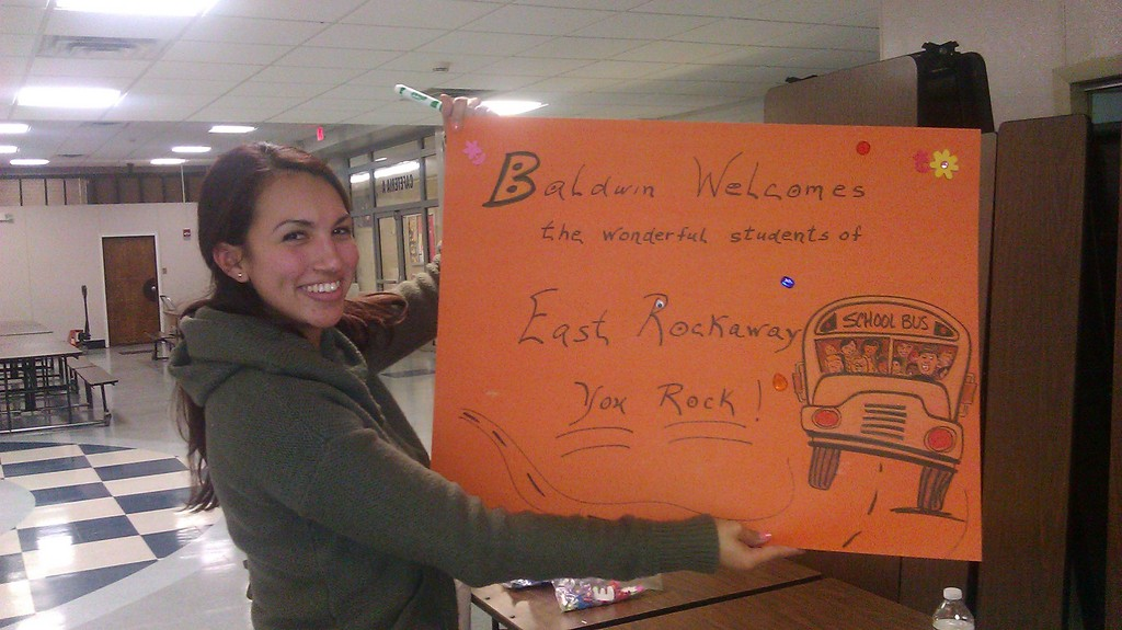 Corinne Viana of the Baldwin Civic Association helped create signs to welcome a group of 600 schoolchildren from East Rockaway.