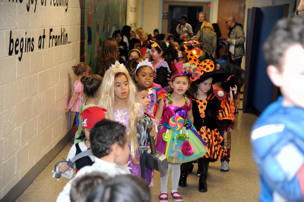 Costumed children paraded through the hall at Franklin after dinner.