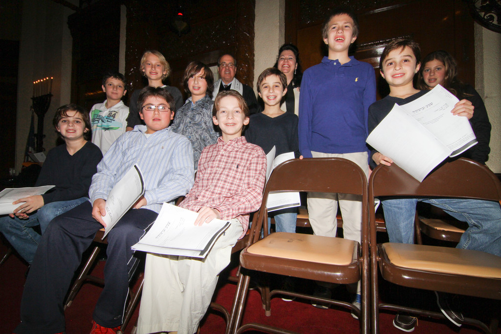 Temple Israel religious school students helped conduct the special Hurricane Sandy pre-Thanksgiving Shabbat service.