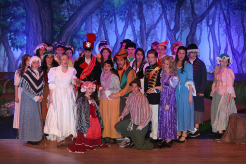 The full company joined together on the stage for the Act One finale of Lynbrook High School�s production of �Into the Woods.�