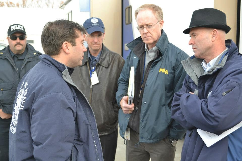 City Manager Jack Schnirman, far left, during a recent meeting with FEMA officials. Schnirman said that the city is looking for a  full reimbursement for costs associated with Sandy.