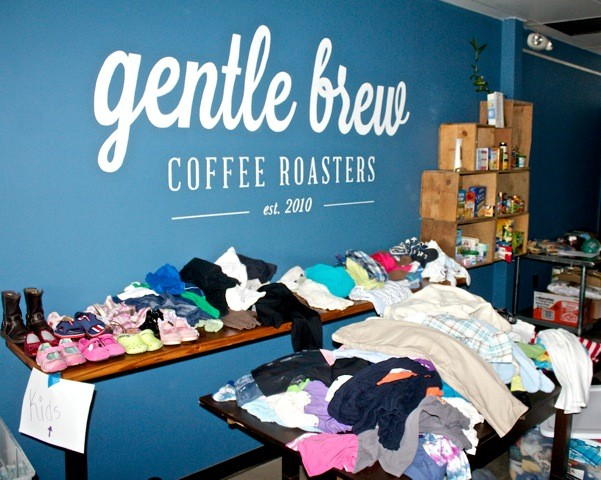 Gentle Brew on East Park Avenue collected donated clothing for victims of Hurricane Sandy immediately after the storm.