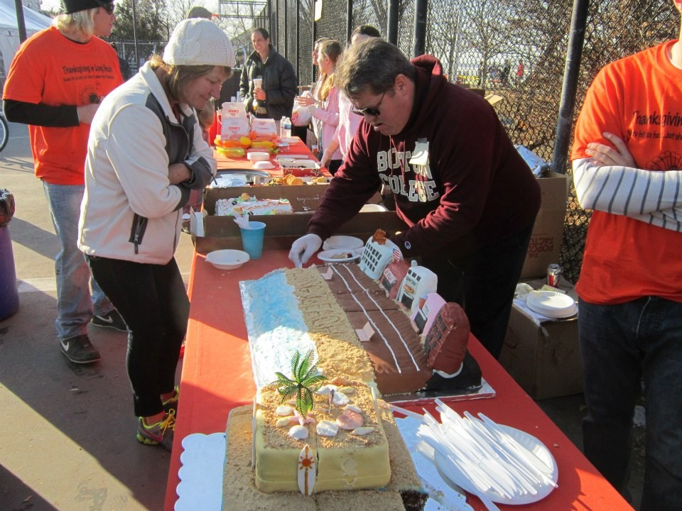 Volunteers served cake and meals to residents.