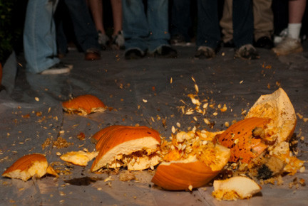 Pumpkins get smashed at the Cradle of Aviation Museum on Friday.