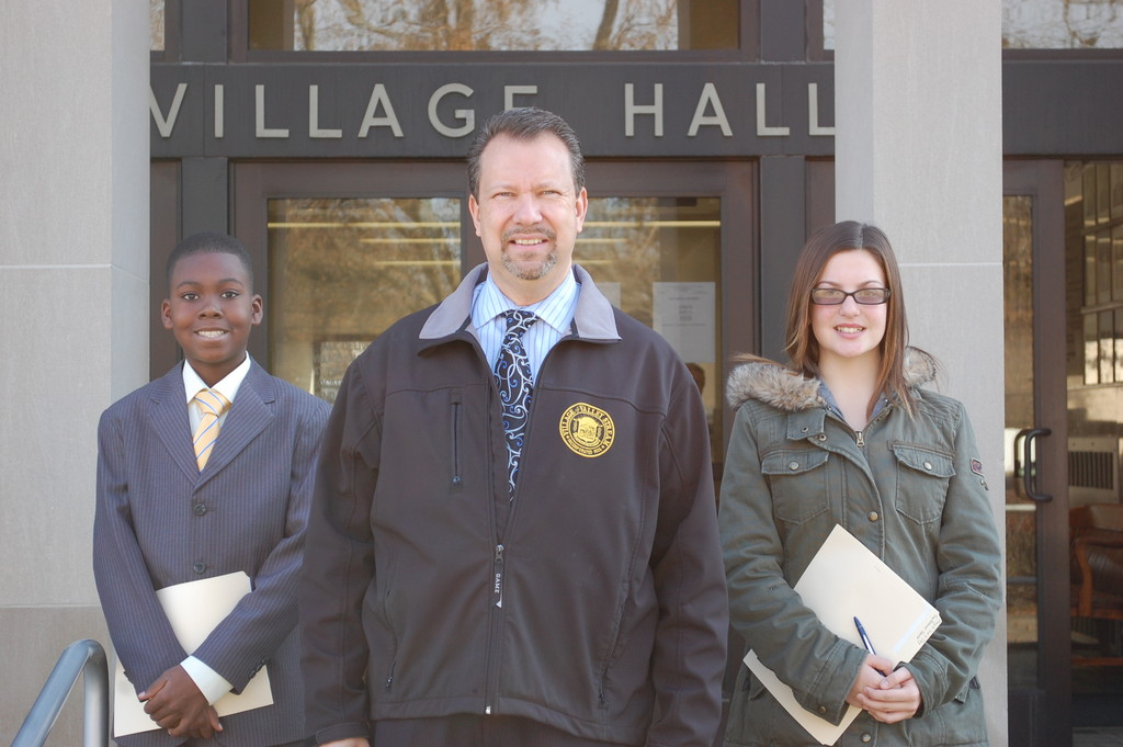 Mayor Ed Fare was joined by Eddy Clarke Alexandre and ToniRaquel Spota on Nov. 23. They were the winners of the Mayor for a Day essay contest.