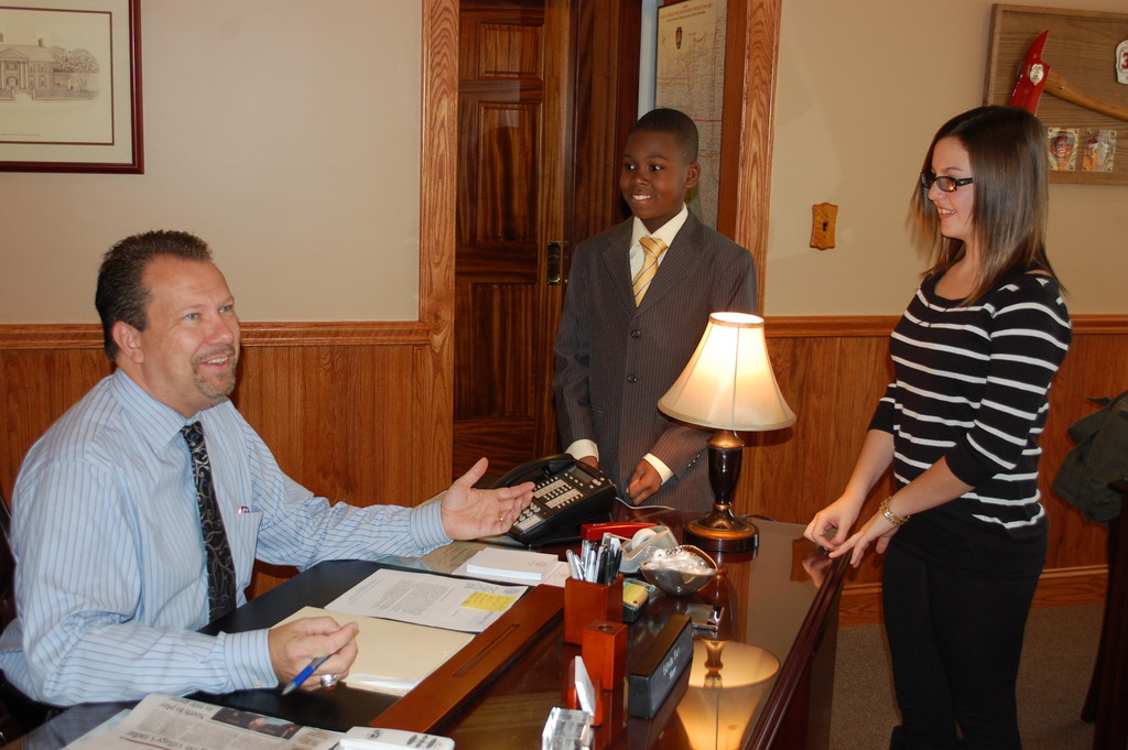 Valley Stream Mayor Ed Fare greeted Mayors for a Day Eddy Clarke Alexandre and ToniRaquel Spota, sixth-graders at the Robert W. Carbonaro School, in his office last Friday morning.