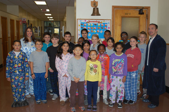 Brooklyn avenue School students were invited to wear their pajamas to class on Nov. 16 if they contributed to the annual food drive.