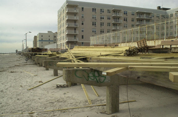 The famous Long Beach boardwalk was blown to pieces in the storm.