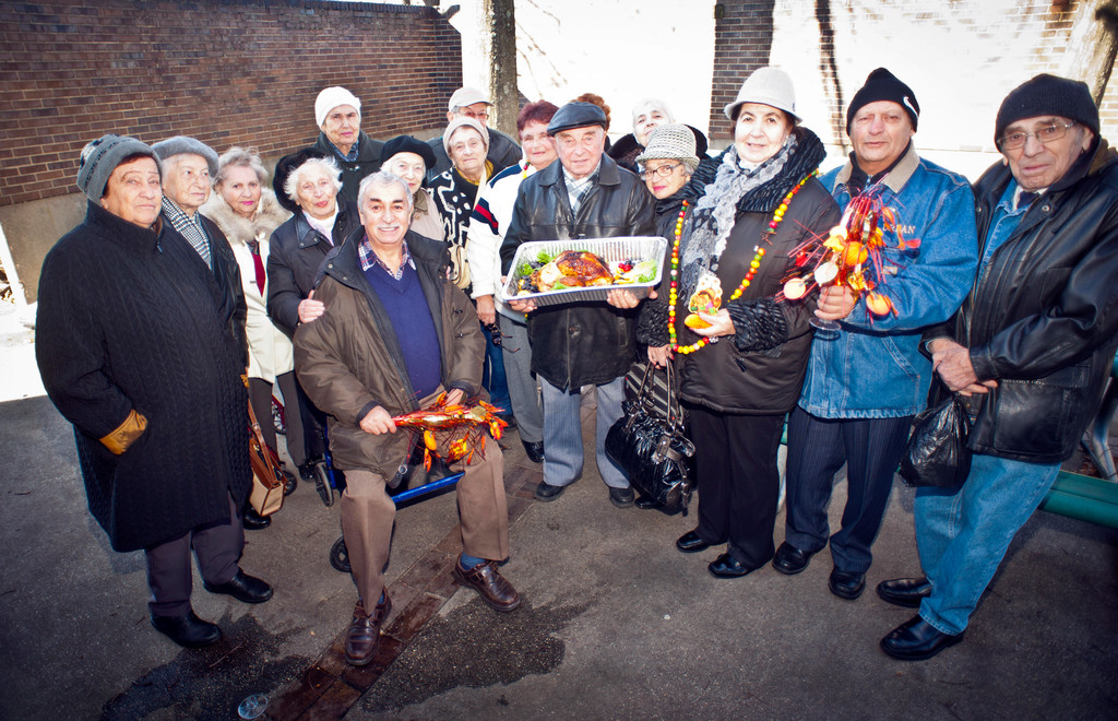 Russian seniors show off what remained of their Thanksgiving feast.