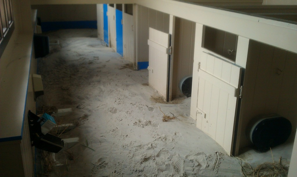 The morning after the storm, I walked up to find the beach I know so well totally changed. These are the public bathrooms just west of the Point Lookout beach. All that sand had to be deposited in a period of about three hours.