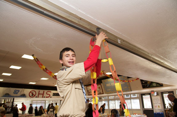 Boy Scout Matthew Bitetto, 14, helped decorate the cafeteria.