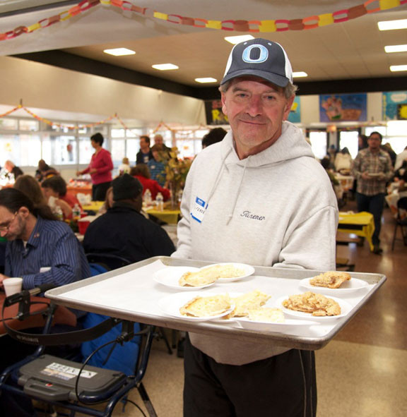 Jeff Risener, the district's director of physical education, served meals.