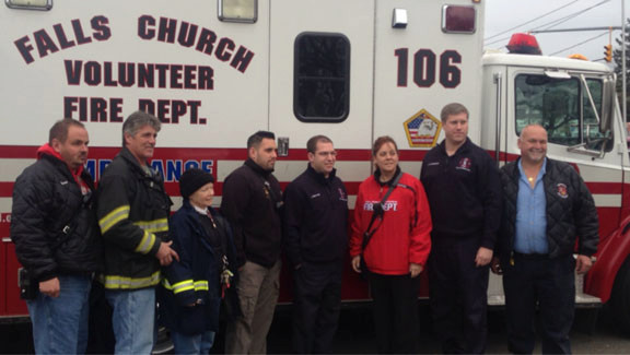 Falls Church, Va. donated an ambulance to the Island Park Fire Department to replace the one that was destroyed by Hurricane Sandy.