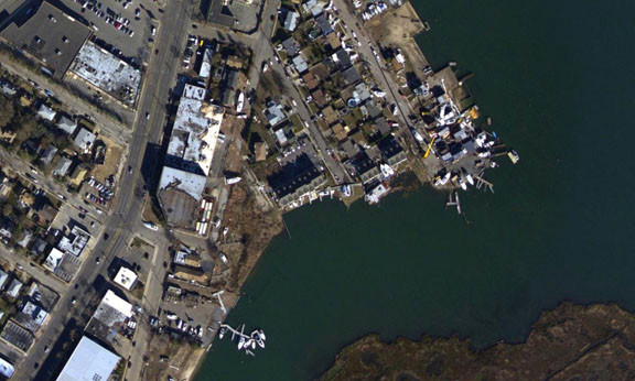 The marinas after. Most of the docks are gone, and the majority of the boats are now on land.