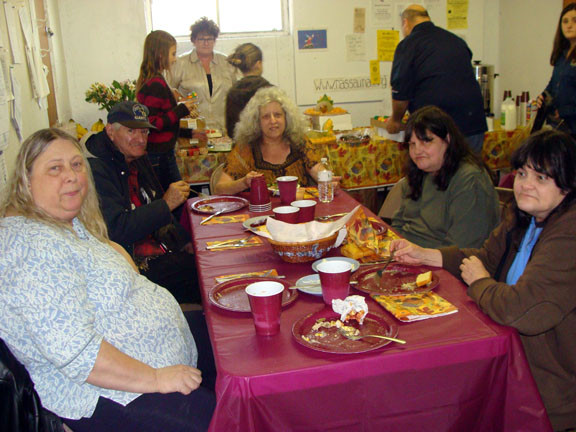 Enjoying a holiday meal together were, from clockwise left: Cedarhurst resident Nancy French, Robert Colby of Far Rockaway, Jo Leonski of East Rockaway and sisters Aimee and Ann Hendrickson of Rockaway Park.