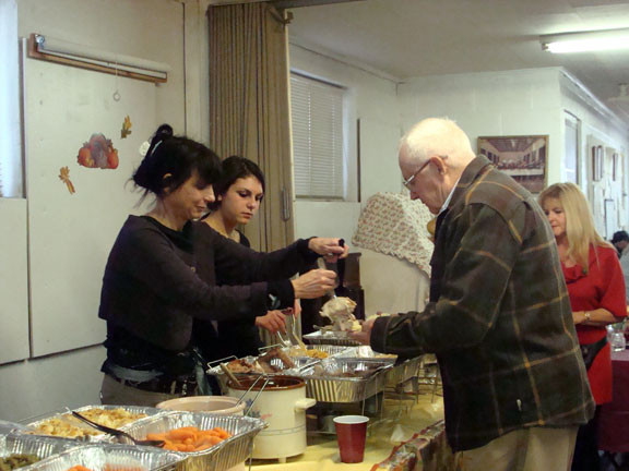 Volunteers served a hot turkey dinner with all the trimmings.