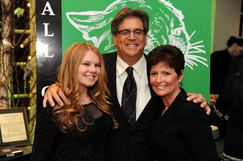 Honoree Gary Morganstern, president of the school's alumni association, was joined by his daughter Jessica and wife, Beth Salke Morganstern, right, at the induction ceremony.