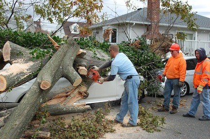 Village employees worked about 3,600 hours of overtime after Hurricane Sandy, mostly to clear trees that fell in streets and on homes and cars.