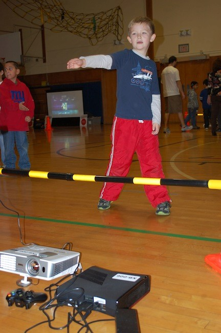Jackson Morton plays Fruit Ninja at the William L. Buck School.