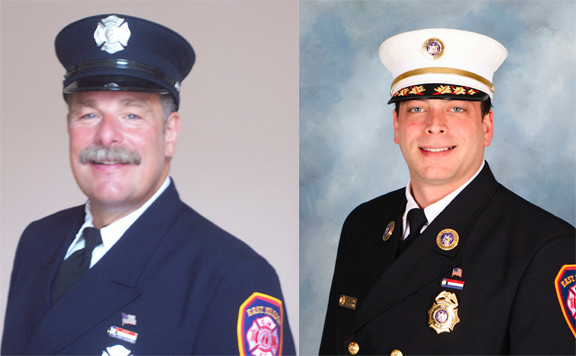 Glenn Carpentier, on left, is challenging incumbent Scott Farber for a seat on the East Meadow board of fire commissioners.