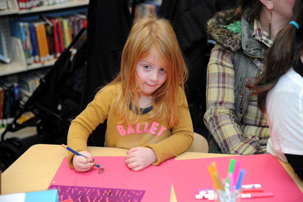 Daniella Rubin thought hard about what she drew at the library's celebration.