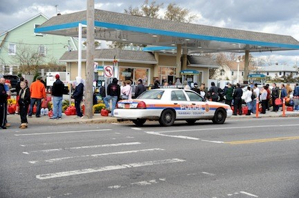 Residents waited in long lines for gas in the days after Hurricane Sandy.