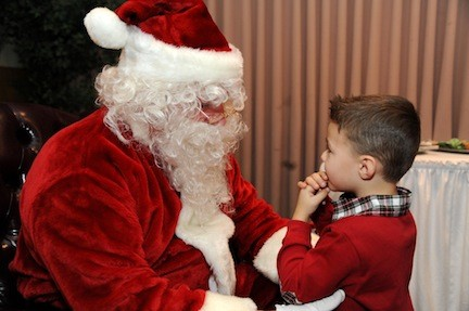 Christian Janicek, 3, told Santa what he wanted for Christmas at Plattdeustche Park Restaurant�s annual Breakfast with Santa last Sunday.